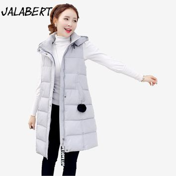 2017 new autumn winter women clothing long Hooded cotton zipper vest Female loose warm Hairball jacket vests
