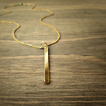 Gold bar necklace, minimal jewelry, 24k  Vermeil gold chain necklace - simple modern jewelry