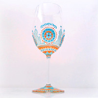 Wedding, Wine Glass, Hand Painted, Moroccan, Mandala, Orange, Blue, Housewarming, Toasting, Custom, Glassware, Bridal, Gifts