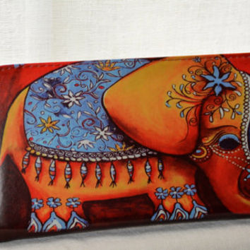 clutch handbag women wallet in Elephant design ZIP Woman Wallet , zipper wallet  Gift ideas for her