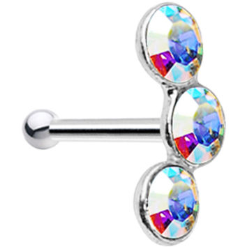 Sterling Silver 2.2mm Aurora Trio Nose Bone Made with SWAROVSKI ELEMENTS | Body Candy Body Jewelry