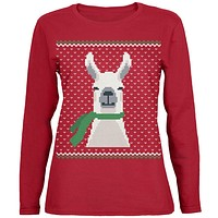 Ugly Christmas Sweater Big Llama Green Womens Long Sleeve T Shirt