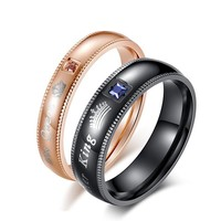 Cool Queen and King Crown Ring for Women and Men Stainless Steel Wedding Engagement Couple Ring Blue Pink Stone Love Jewelry RingAT_93_12