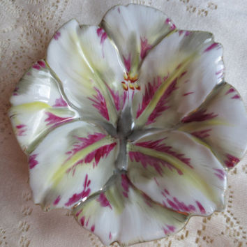 Occupied Japan Chubu China White and Pink Hibiscus dish.  Floral China, Hibiscus Flower, Candy Dish