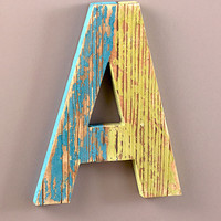 Wooden Rustic Letter Monogram Distressed Finish Personalized Home Decor
