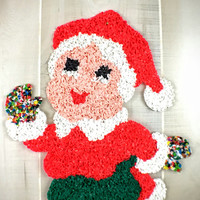 Vintage Christmastime Melted Plastic Popcorn Kitchy Mrs Clause Door Hanger Christmas Decoration