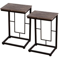 """2PCS 21.7"""" Wood Coffee Tray Side Sofa End Table Couch Stand Lap Antique Finish"""