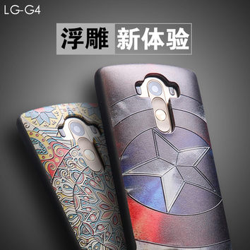 New For LG G4 Case Covers 3D Stereo Relief Painting Back Cover For LG G4 Cases Mobile Phone Slim Silicon Protector Funda Capa