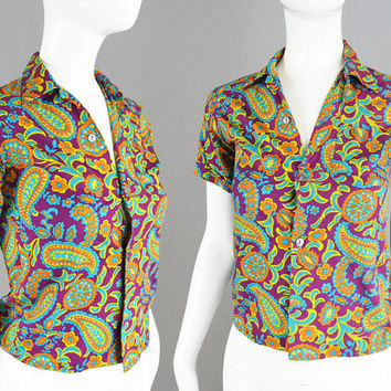 Vintage 70s Womens Shirt 1970s Paisley Shirt Purple Cotton Shirt Psychedelic Print Hippie Shirt Petite Womens XS Cropped Shirt Bright Blouse