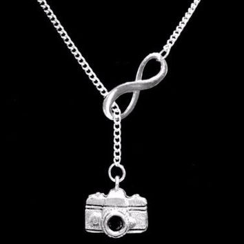 Infinity Camera Photographer Picture Travel Gift Lariat Necklace