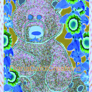 Teddy Bear Blue Graphic Art Ready To Download For A Sweet PictureIn Your Kids Bedroom Or Nursery Wall.