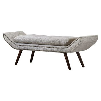 Newcastle Fabric Nailhead Tufted Bench Drizzle Gray
