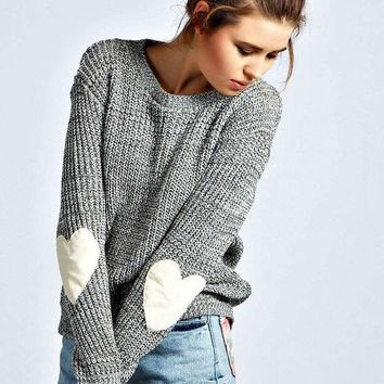 DCCKHQ6 Gray Heart Print Elbow Knitted Sweater