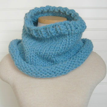 Cozy Cowl Scarf in Robin's Egg Blue by WindyCityKnits on Etsy