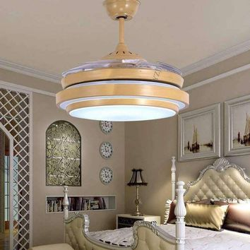42inch frequency fan light ceiling chandelier fan with remote control LED living room bedroom ceiling chandelier fan light