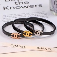 Double C Titanium And Steel Three Dimensional Three Color Bracelet With Hollow Bracelet