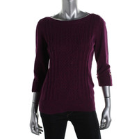 Karen Scott Womens Knit Cuff Sleeves Pullover Sweater