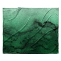 "Ebi Emporium ""Winter Waves 7"" Green Black Fleece Throw Blanket"