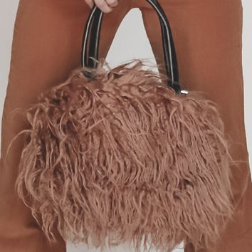 Bradshaw Taupe Faux Lamb Fur Purse