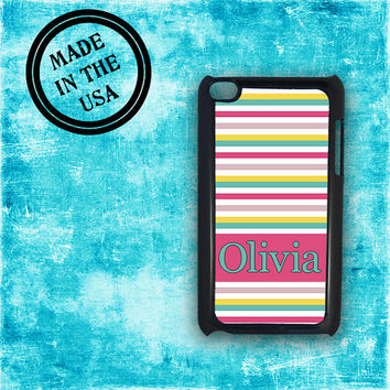 Cute Ipod 5th gen case - Pastel striped with hot pink Tiffany blue - Ipod Touch 4 cover nautical, girly ipod monogrammed iPod 5 (9985)