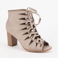 SODA Peep Toe Lace Up Womens Booties | Boots & Booties