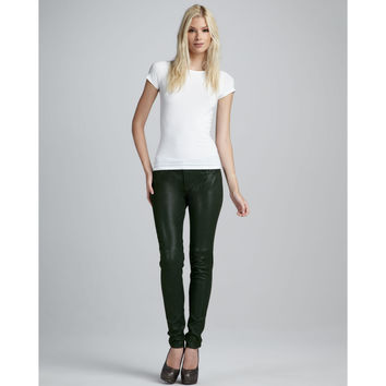 Joe's Jeans Forest Green Leather Skinny Jeans