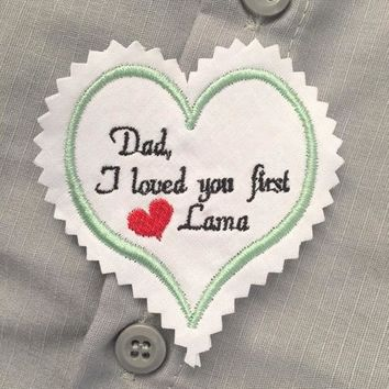 Wedding dress label Wedding Tie Label I loved You First Dad Wedding Gift Dad Wedding Tie patch Wedding Wedding Day Canyon Embroidery