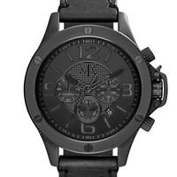 Armani Exchange Mens Chronograph Watch with Leather Strap