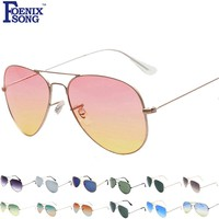 FOENIXSONG Brand New Designer Sunglasses for Women Pilot Classic Fashion Eyewear Gradient Mirrored Lens Men Sun Glasses Oculos