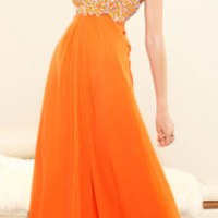 Terani 2014 Prom Dresses - Orange Chiffon & Crystal Encrusted Strapless Sweetheart Gown