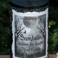 Samhain Between the Worlds . Ritual Candle 2x3 in Black . Pumpkin, Samhain Spices and Madagascar Vanilla Cream