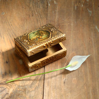 Vintage Italian jewelry box , Wedding Ring Box ,Florentine Gold Gilt Wooden trinket box .