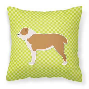 Central Asian Shepherd Dog Checkerboard Green Fabric Decorative Pillow BB3828PW1414