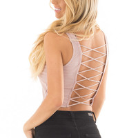 Mauve Cropped Tank Top with Open Back Detail