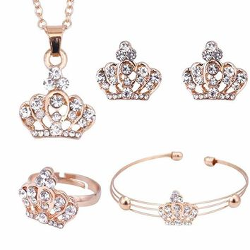 Gold Color Crown Bridal Jewelry Set Hollow Flower Necklace/Earrings/Ring/Bracelet Indian Wedding Accessorie For Wom