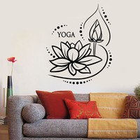 Vinyl Wall Decal Lotus Flower Yoga Meditation Buddhism Stickers Unique Gift (1639ig)