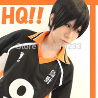 [sunshine]Haikyuu!! Volleyball black iron style paragraph short anime cosplay wig Heat resistance fibre hair