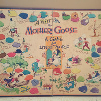 "Mother Goose Game Board Parker Brothers 1947 ""A Visit to Mother Goose A Game for Little People"""