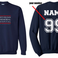 Custom name and number on back Grey Sloan Memorial Hospital Navy Crew neck Sweatshirt