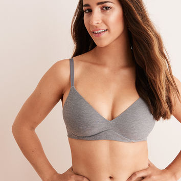 Aerie Real Sunnie Wireless Demi Coverage Push Up Bra, Shell Gray