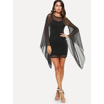 Exaggerate Bell Sleeve Glitter Mesh Dress with Cami