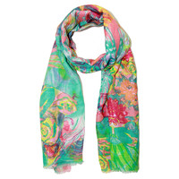 Vibrant Flower Scarf, Aqua/Coral, Scarves