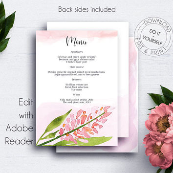 Blush Floral Printable Menu, DIY Menu Template, Menu Template, Menu Card, DIY Wedding, Printable Wedding, Reception Menu, Wedding Table