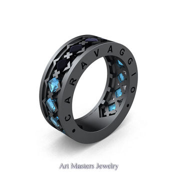Caravaggio Mens Modern 14K Grey Gold Princess Black Diamond Aquamarine Blazer Wedding Band R313M-14GGAQBD