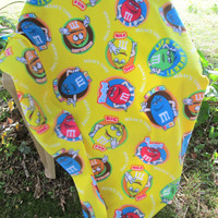 Fleece Lap or Toddler Bed Blanket Made From M&M Fabric - Lap Blanket, Stadium Blanket. Throw - Green, Red, Yellow