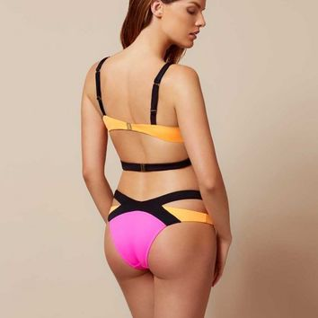 Mazzy Bikini Bottom Black Pink Orange