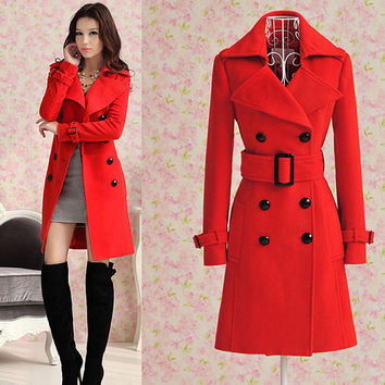 Red Long Pea Coat Jacket Winter Overcoat Wool Coat Dress With Belt High Quality Women Double Breasted Outerwear Clothes WC103