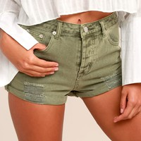 Acacia Washed Olive Green Distressed Denim Shorts