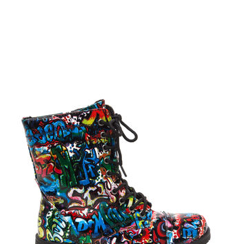 Weekend Warrior Graffiti Combat Boots