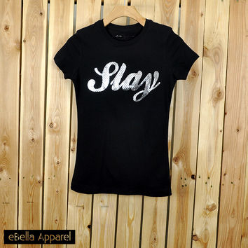 Slay - Women's Basic Black Short Sleeve, Graphic Foil Print Tee